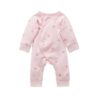Pure Baby Premie Crossover Growsuit Pale Pink Leaf