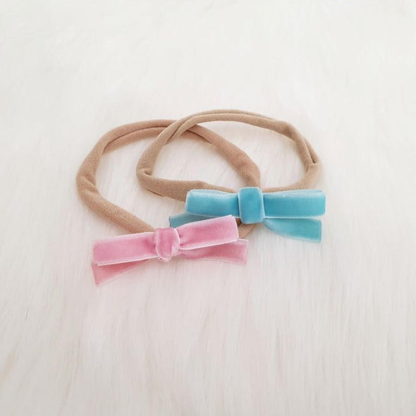 Velvet Bow Headband Set Aqua/Pink