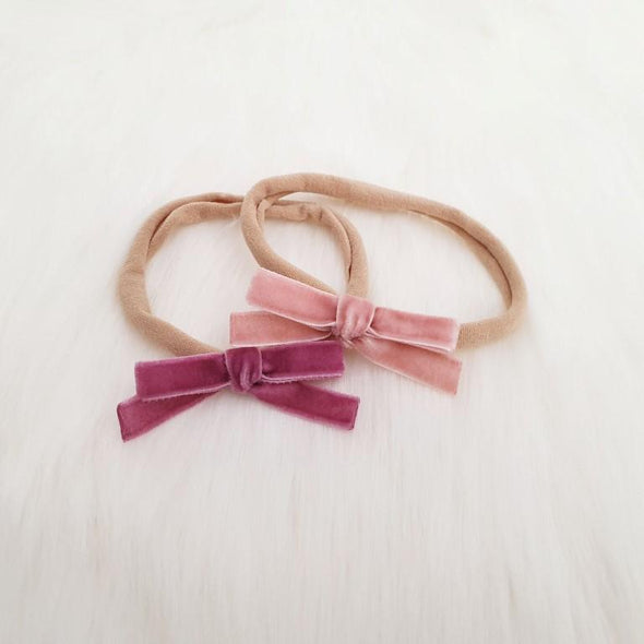 Velvet Bow Headband Set Grape/Rose
