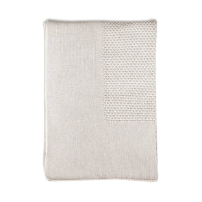 Little Bamboo Textured Knit Blanket Natural Oatmeal