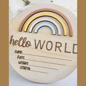 Timber Tinkers Hello World Rainbow Birth Announcement Golden Days