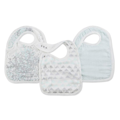 Silky Soft Snap Bibs 3pk Skylight