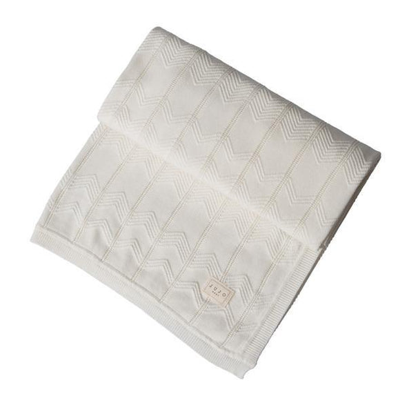 Chevron Pointelle Cot Blanket Milk