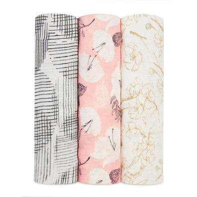 Silky Soft Swaddles 3pk Pretty Petals