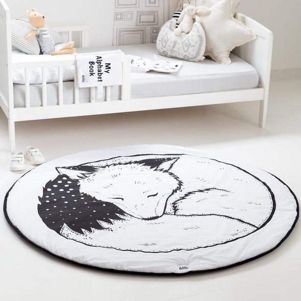 Monochrome Fox Play Mat