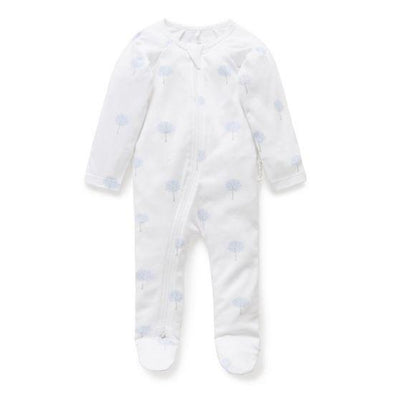 Pure Baby Essentials Zip Growsuit Pale Blue Tree