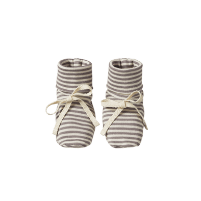 Natural Baby Cotton Booties Grey Stripe