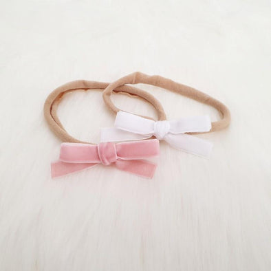 Velvet Bow Headband Set White/Blush