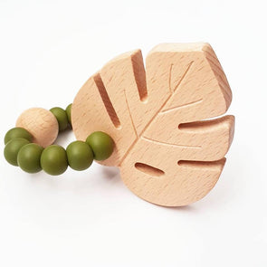 Monstera Ring Teether Olive