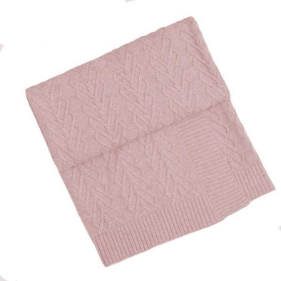 Heart Cable Bassinet Blanket Pink