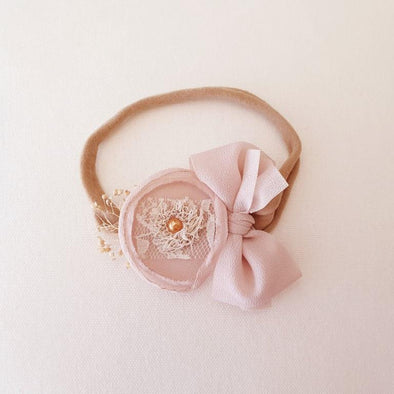 Chiffon Flower Headband Nude Blush