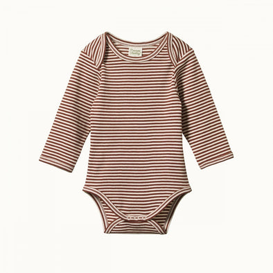 Nature Baby Cotton Long Sleeve Bodysuit Clay Stripe