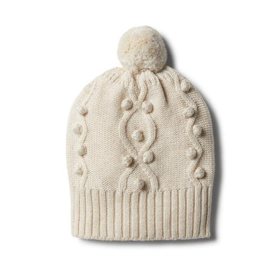 Wilson & Frenchy Oatmeal Knitted Hat With Baubles