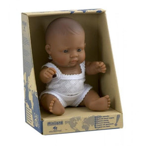 Miniland Anatomically Correct Baby Doll Latin American Boy, 21 cm