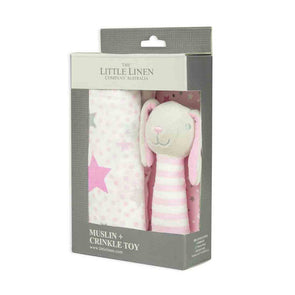 Muslin Wrap & Crinkle Toy Set Pink Bunny