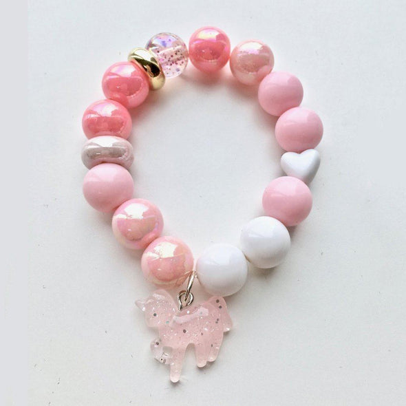 Bobble Bracelet White Unicorn Love