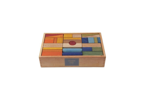 Wooden Story Blocks Rainbow 63 Piece Set