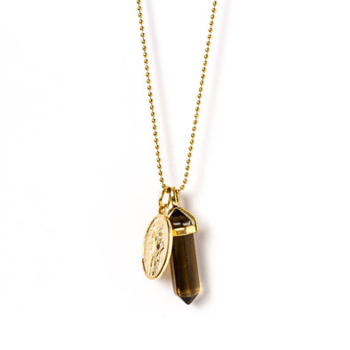 Gold Saint Pendant Necklace Smokey Quartz