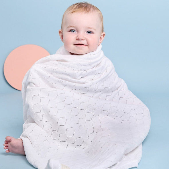 Diamond Pointelle Cot Blanket