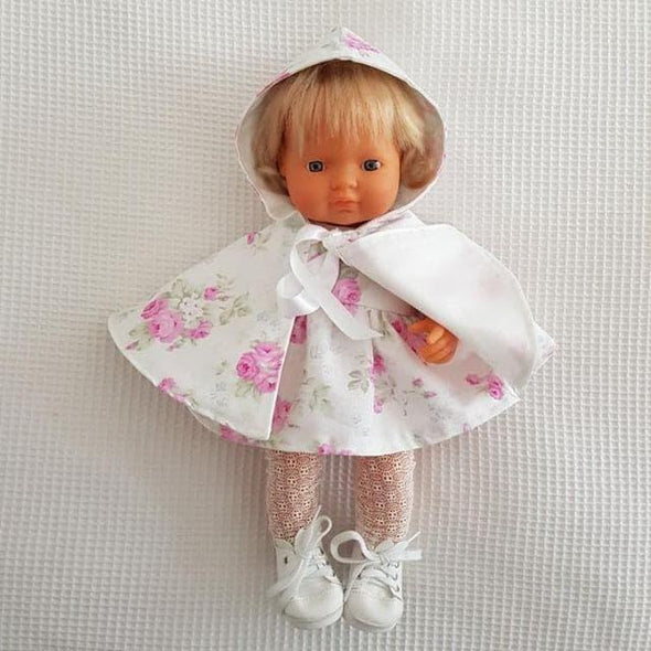 Hooded Doll Cape White Floral
