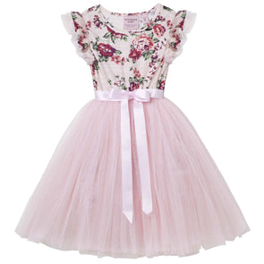 Pearl Floral Short Sleeve Tutu Dress Pink