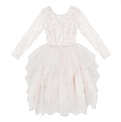 Ella Long Sleeve Lace Tutu Beige