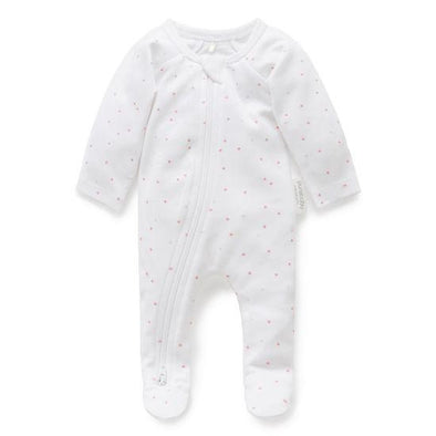 Pure Baby Premie Zip Growsuit Pale Pink Spot
