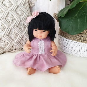 MillaRuby Collared Doll Dress Pink Linen