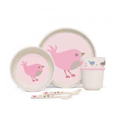 Penny Scallan Bamboo Mealtime Set Chirpy Bird
