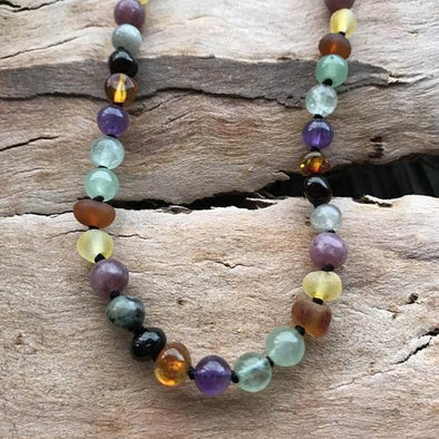 Amber Necklace 33-35cm Rainbow Calming