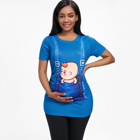 Image of 3D Print Pregnant Maternity Tee