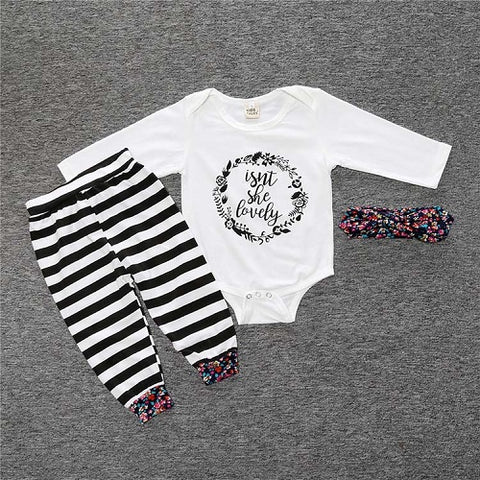 Baby Long-Sleeve Romper + trousers + hat