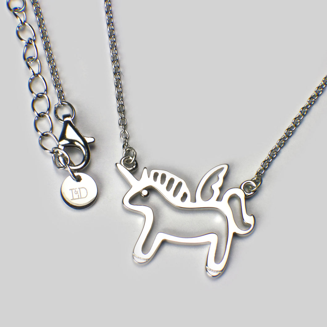 sterling silver rhodium plated unicorn pendant necklace chain