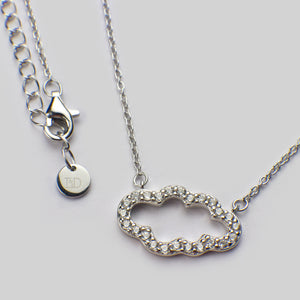 Sterling silver rhodium plated cloud pendant necklace cubic zirconia chain