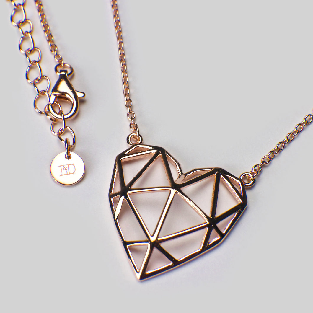 sterling silver 18ct rose gold geometric heart pendant necklace chain