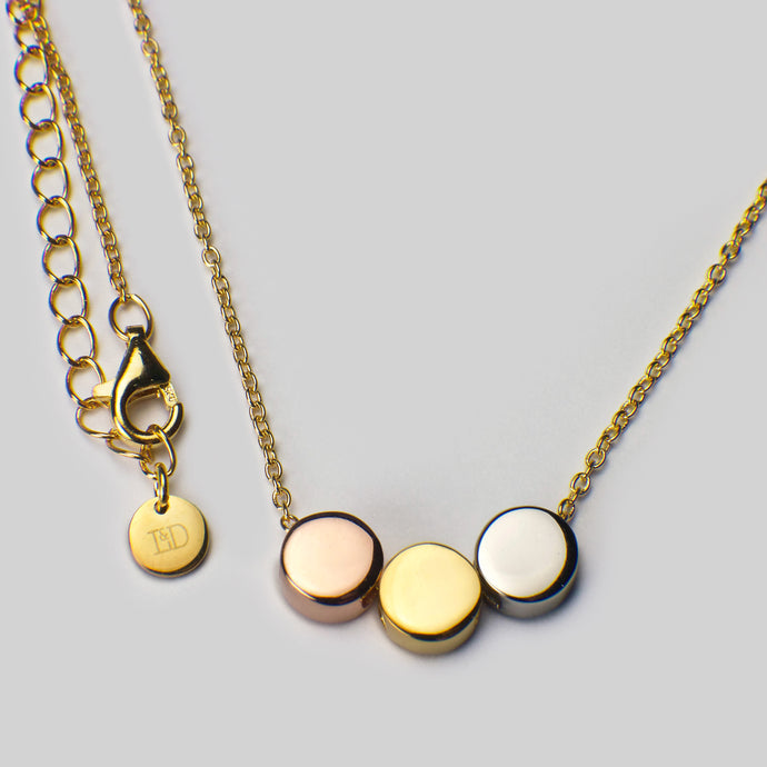 sterling silver 18ct yellow rose gold plated beads rhodium plated chain necklace