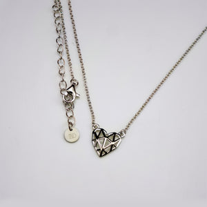 Mini Silver Geo-Heart Necklace