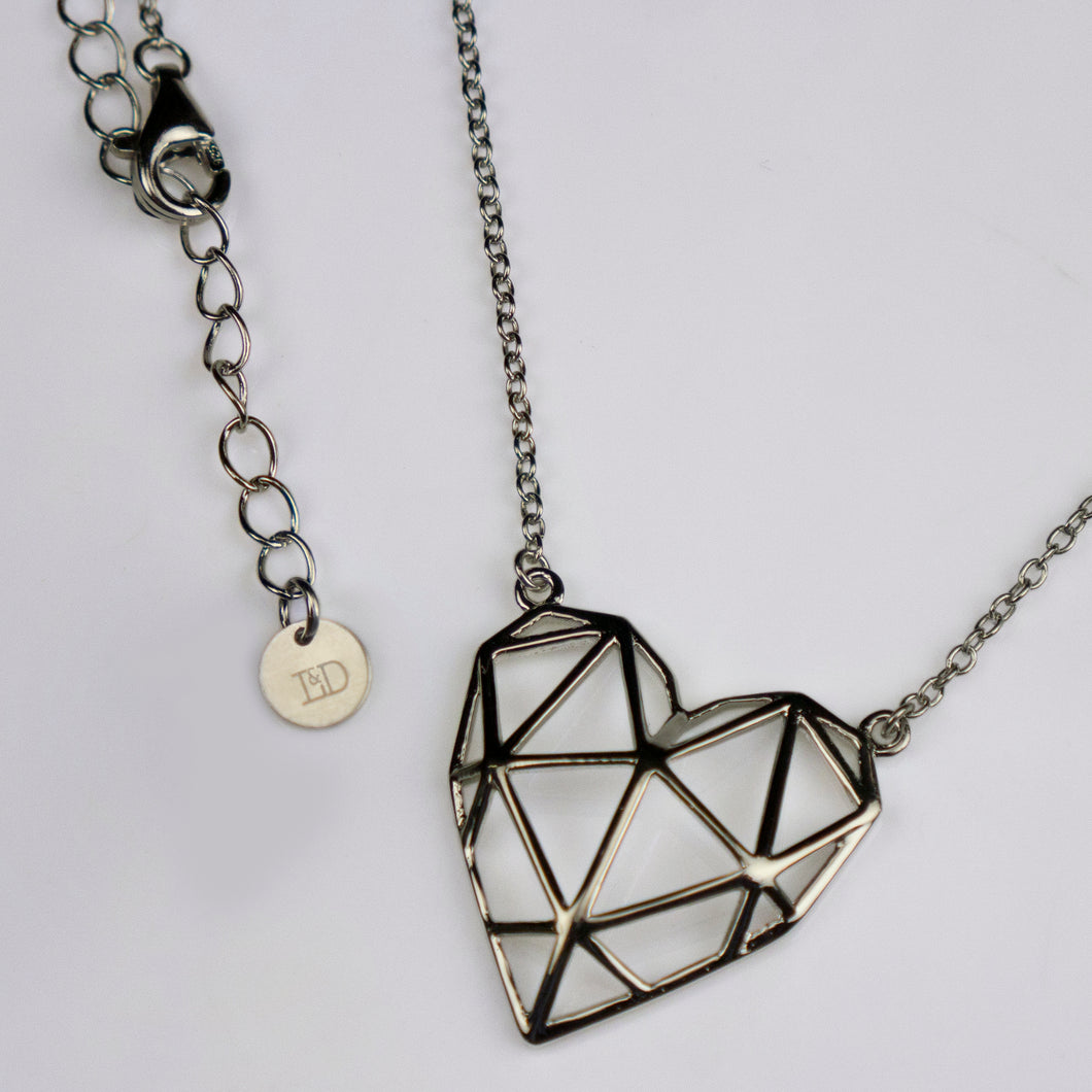 Silver Geo-Heart Necklace