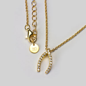 sterling silver 18ct yellow gold plated wishbone pendant cubic zirconia necklace chain