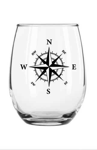 Nautical Compass Stemless Wine Glass