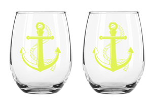 Set of 2 Anchor Wine Glasses