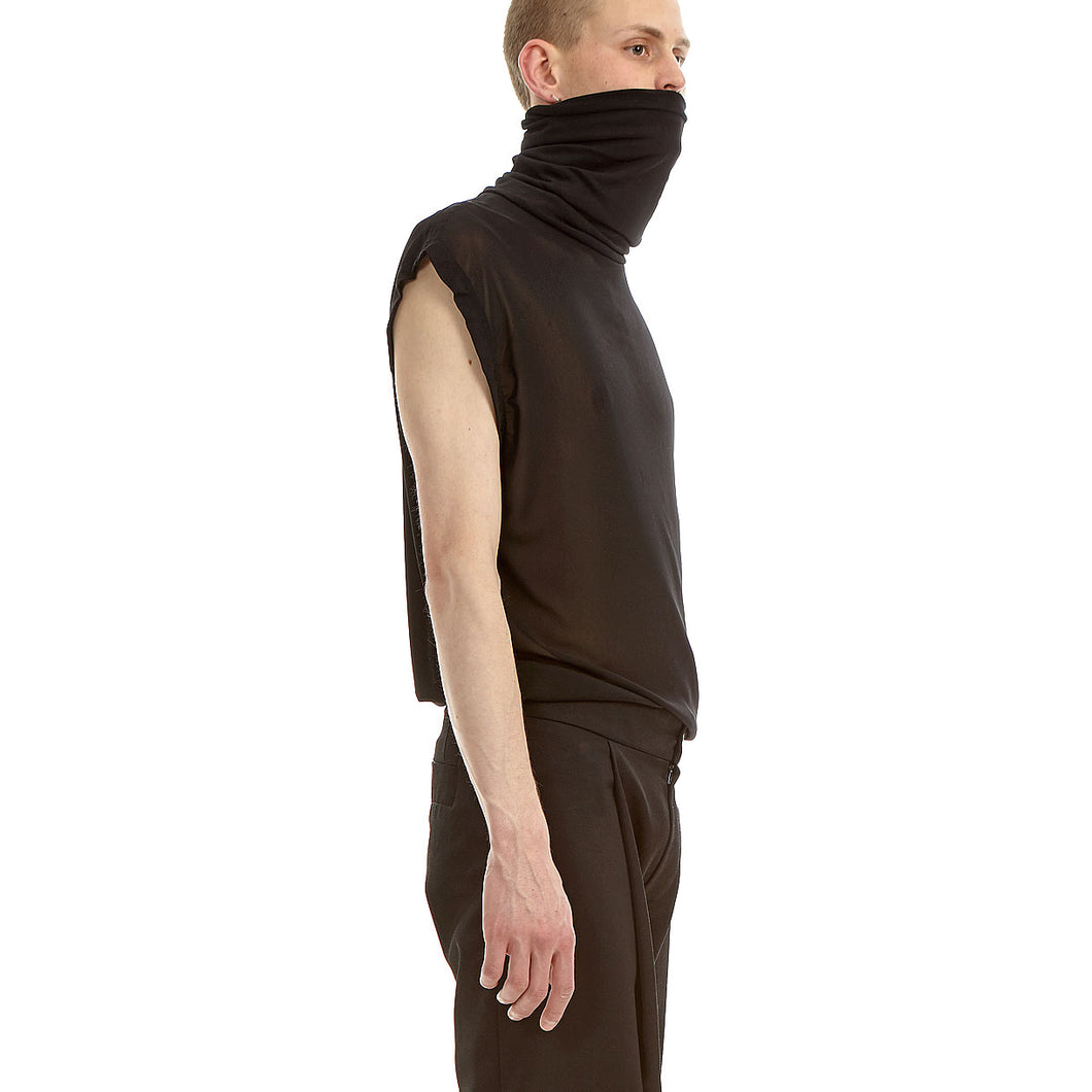 Sleeve less Turtle neck, Black