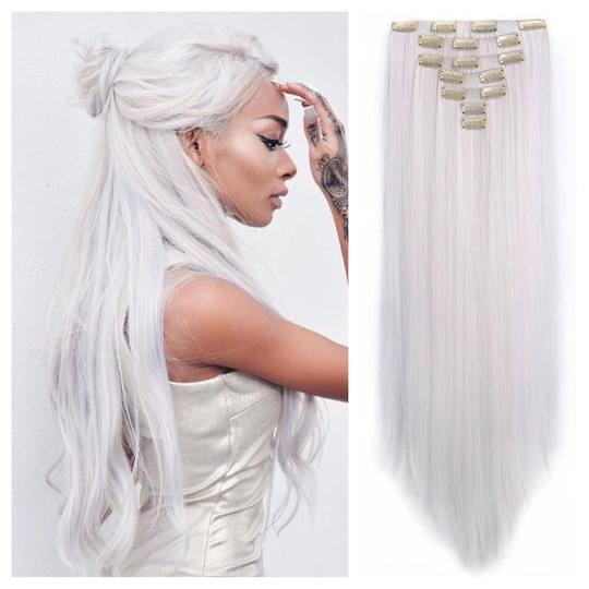 Icy White Clip In Hair Extensions 24\' Straight