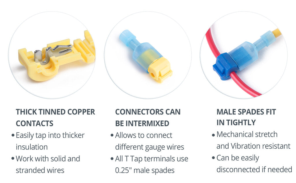 Wirefy ttap male spade T-Tap connectors nylon tinned copper contacts secure fit can be intermixed