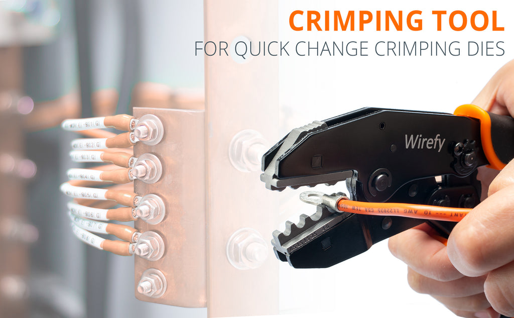 Wirefy tool for quick change crimping dies