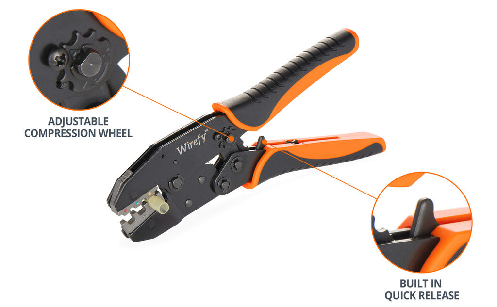 wirefy crimping tool nd no dies quick change adjustable compression wheel quick release