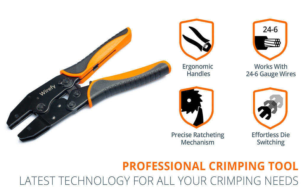 wirefy crimping tool for quick change crimping dies ergonomic handles precise mechanism easy die switching