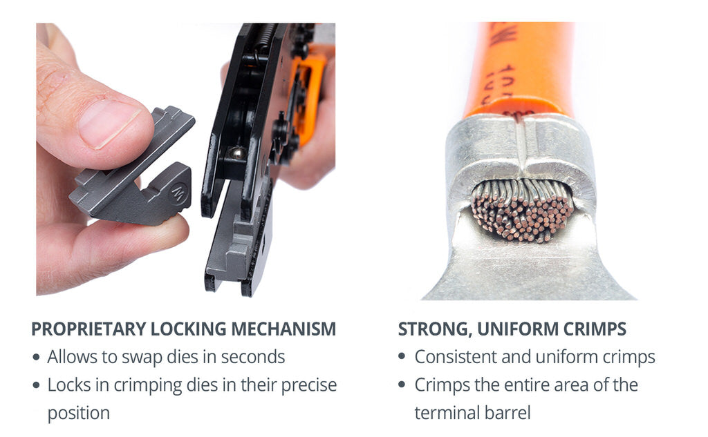 wirefy crimping tool nd no dies quick change magnetic locking strong crimps