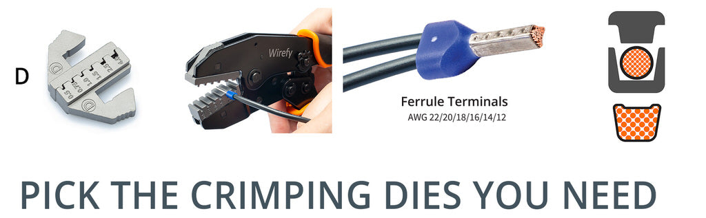 wirefy quick change crimping dies for ferrule terminals