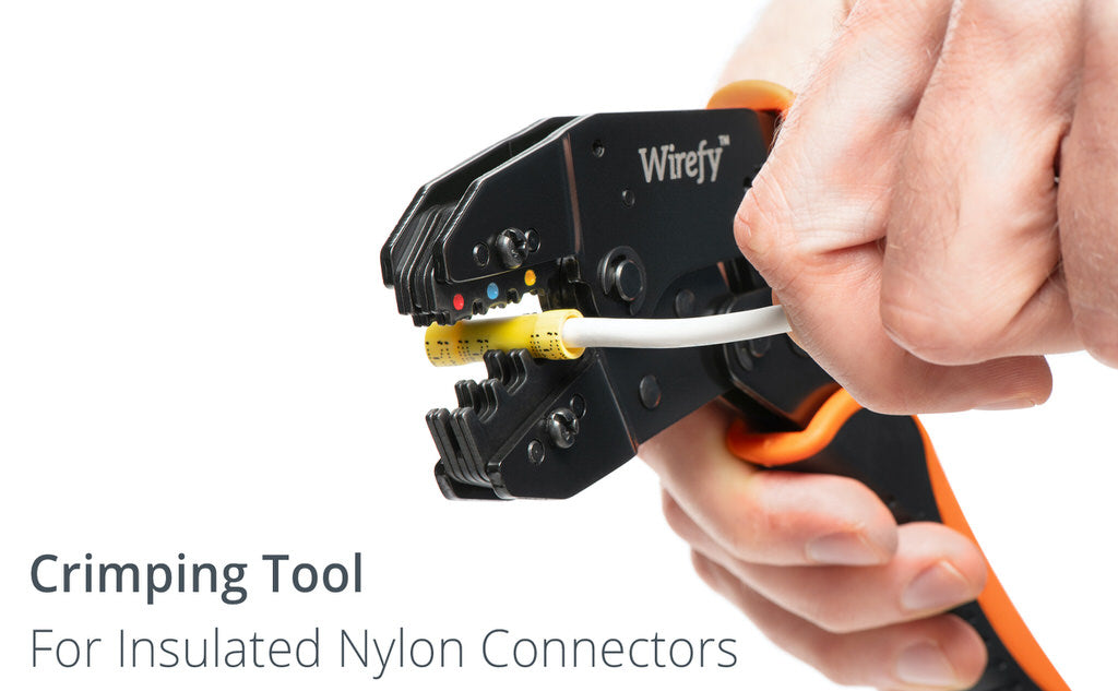Crimping tool for insulated nylon connectors wirefy